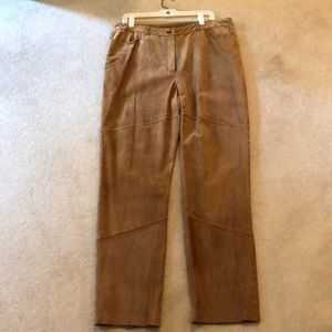 Tan/carmel colored suede pants with stitch detail